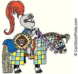 cartoon knigth horseman
