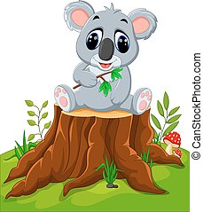 Cartoon koala posing