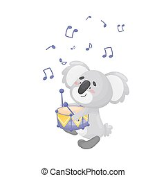 Cartoon koala with a drum. Vector illustration on a white background.