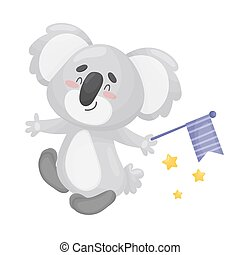 Cartoon koala with a flag. Vector illustration on a white background.