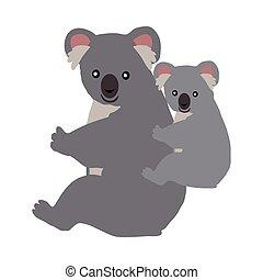 Cartoon Koala with Baby. Vector Illustration