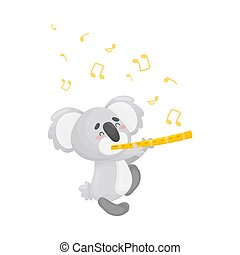 Cartoon koala with flute. Vector illustration on a white background.