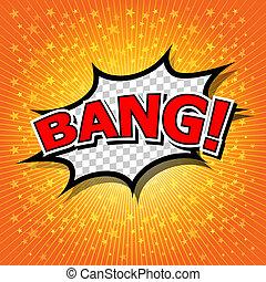 cartoon., komisch, tekstballonetje, bang!