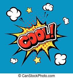 cartoon., komisch, toespraak, cool!, bel