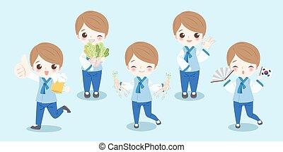 cartoon korea boy