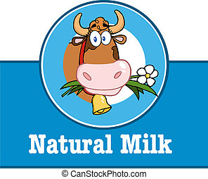 Label With Cow And Text