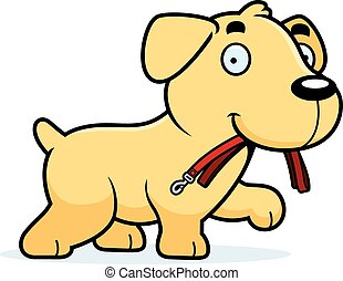Cartoon Labrador Leash - A cartoon illustration of a...