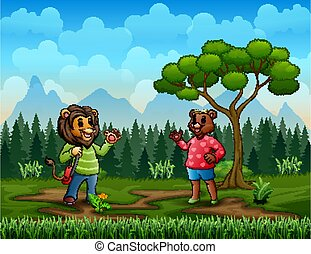 Cartoon lady bear meeting a man lion in the park