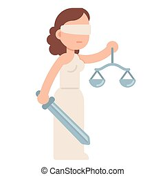 Cartoon Lady Justice, blindfolded with scales and sword. Themis, Greek goddess of law and justice. Flat style vector illustration.