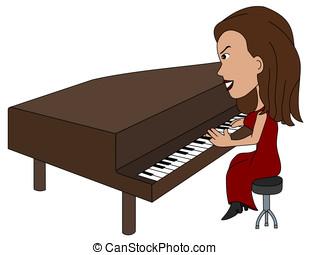 Cartoon lady pianist