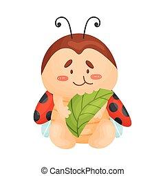 Cartoon ladybug eating. Vector illustration on a white background.