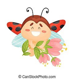 Cartoon ladybug flies with flowers. Vector illustration on a white background.