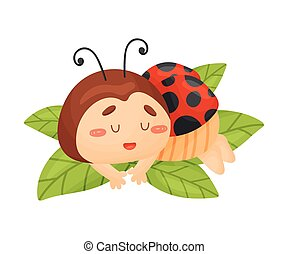 Cartoon ladybug is sleeping. Vector illustration on a white background.