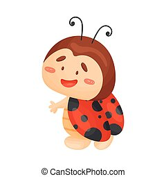 Cartoon ladybug is standing. Vector illustration on a white background.