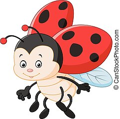 Cartoon ladybug waving - Vector illustration of Cartoon...