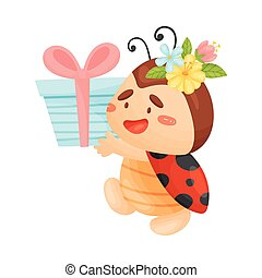 Cartoon ladybug with a gift. Vector illustration on a white background.