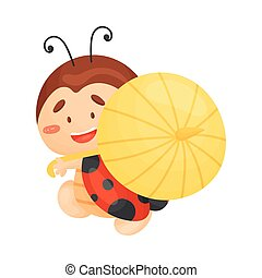 Cartoon ladybug with an umbrella. Vector illustration on a white background.