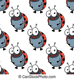 Cartoon ladybugs seamless pattern background