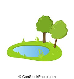 Cartoon lake with green grass and trees on the banks, flat style landscape design element. Flat vector illustration. Isolated on white background.
