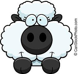 Cartoon Lamb Peeking - A cartoon illustration of a lamb...