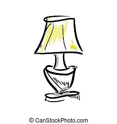 Cartoon lamp on white background.  Vector Illustration.