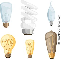 Cartoon lamps light bulb electricity design flat vector ...
