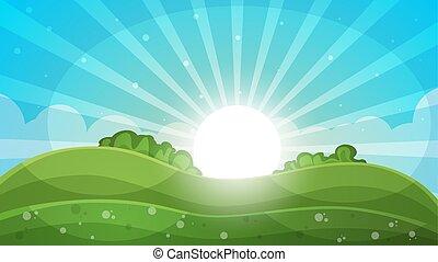 Cartoon landscape - abstract illustration. Sun, ray, glare,...