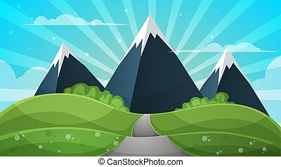 Cartoon landscape - abstract illustration. Sun, ray, glare, hill, cloud, mountain.