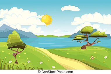 Cartoon landscape. Mountains, sea or lake, trees and dirt road. Blue sky with clouds and sun. Vector Illustration.