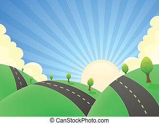 Cartoon Landscape Road In The Summer - Illustration of a...