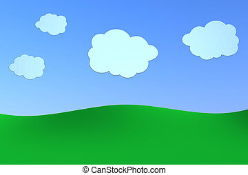 cartoon landscape - green hills with a blue sky and some...