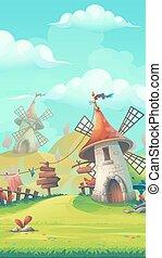 Cartoon landscape with a windmill