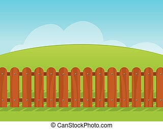 Cartoon landscape with a wooden fence