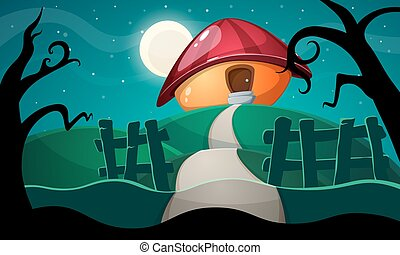 cartoon landscape with mushroom house.