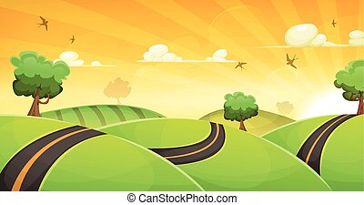 Cartoon Landscape With Road And Shining Sun