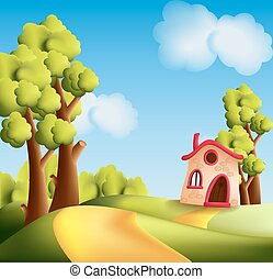 Cartoon landscape with trees and small house