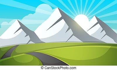 cartoon, landskab., bjerg, himmel, stråle, vej, rejse, illustration.