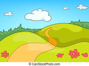 cartoon, landskab, natur
