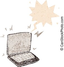 cartoon laptop computer and speech bubble in retro textured style
