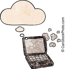 cartoon laptop computer and thought bubble in grunge texture pattern style
