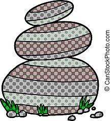 cartoon large stacked stones