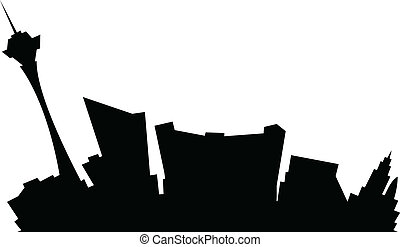Cartoon Las Vegas - Cartoon skyline silhouette of the city...