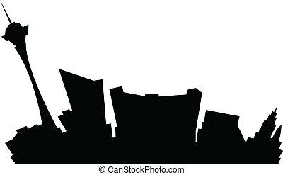 Cartoon skyline silhouette of the city of Las Vegas, Nevada, USA.