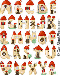 vector cartoon latin alphabet, each letter is a unique medieval house
