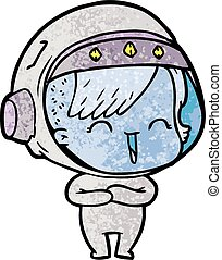 cartoon laughing astronaut girl