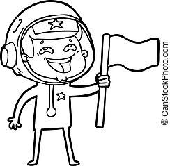 cartoon laughing astronaut waving flag