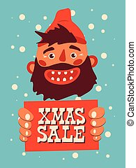 Cartoon laughing bearded man holds a sign with an inscription. Vintage Christmas Sale poster design. Vector illustration.