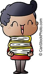 cartoon laughing boy carrying books
