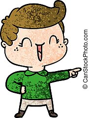 cartoon laughing boy pointing