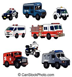 Cartoon law enforcement cars - A vector illustration of...